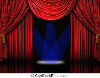 bleu, rideaux, draper, théâtre, projecteurs, velours, étape