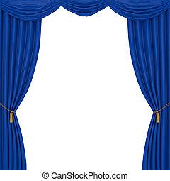 bleu, rideaux, fond blanc