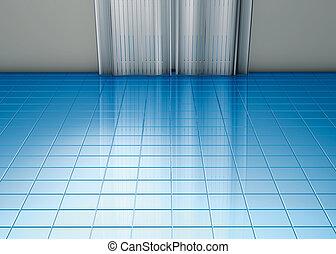 bleu, rideaux, plancher