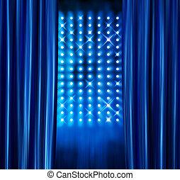 bleu, rideaux, projecteurs, étape