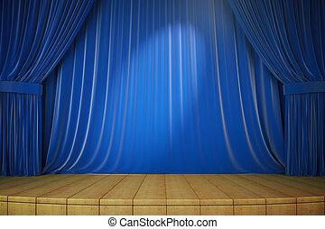 bleu, rideaux, render, bois, projecteur, étape, 3d