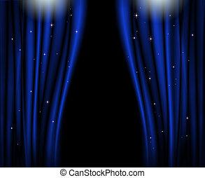 bleu, rideaux, stage.