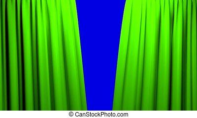 bleu, rideaux, théâtre, cinéma, écran, ouverture, 4k, fermer, étape