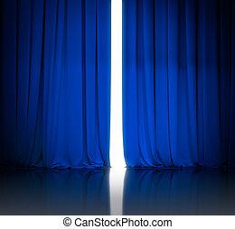 bleu, rideaux, théâtre, légèrement, être, lumière, cinéma, blanc, ouvert, ou