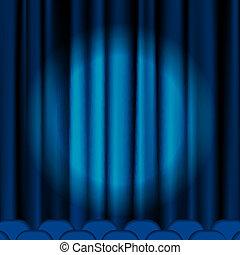 bleu rideaux velours projecteurs cin ma bleu annonce concept velours projecteurs. Black Bedroom Furniture Sets. Home Design Ideas