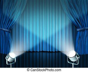 bleu, rideaux, velours, projecteurs, cinéma