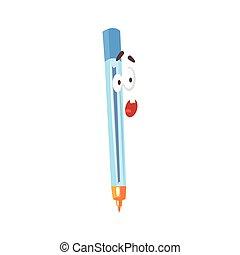 bleu, rigolote, caractère, illustration, figure, stylo, vecteur, comique, humanized, dessin animé, surpris