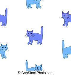 bleu, rigolote, ensemble, cats.