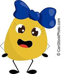 bleu, rigolote, illustration., elle, couleur, centre, jaune, vecteur, bow-clip, girl, tête, ou, monstre