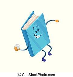 bleu, rigolote, lancement, caractère, illustration, dessin animé, boule de neige, vecteur, humanized, livre