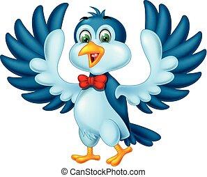 bleu, rigolote, oiseau, dessin animé