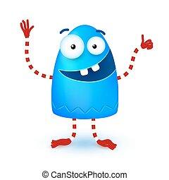 bleu, rigolote, peu, monstre, mignon, sourire