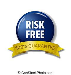 bleu, 'risk, 100%, -, gratuite, guarantee', marine, cercle, étiquette