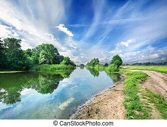 bleu, rivière, silencieux