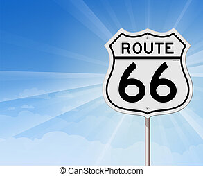 bleu, roadsign, parcours, ciel, 66