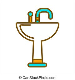 bleu, robinet, céramique, isolé, illustration, sombrer, blanc