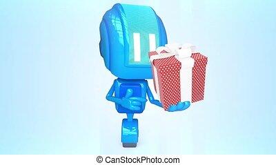 bleu, robot, présent