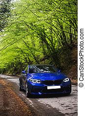 bleu, romantique, vert, sous, arbres, conduite, sedan, forêt