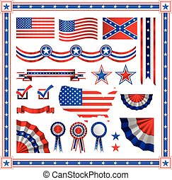 bleu, rond, étiquettes, bannières, modèle, couleur, drapeau, raies, américain, couronnes, rouges, étoiles, patriotique, insignes, boucliers, éléments