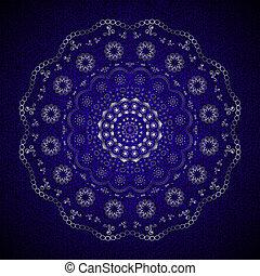bleu, rond, dentelle