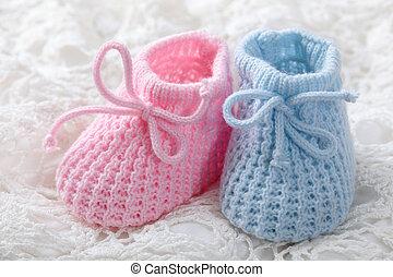 bleu, rose, butins, bébé