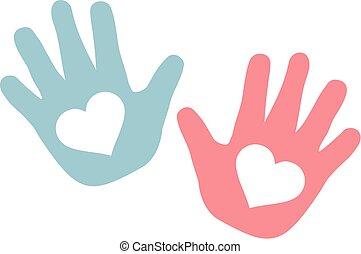 bleu, rose, cœurs, bébé, mains