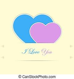 bleu, rose, cœurs, carte, valentin