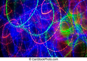 bleu, rose, coloré, pourpre, résumé, lignes, courbes, arrière-plan vert, rouges