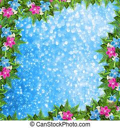 bleu, rose, félicitation, invitation, ou, carte, orchidées