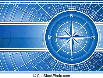 bleu, rose., fond, compas