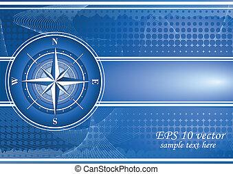 bleu, rose, fond, compas