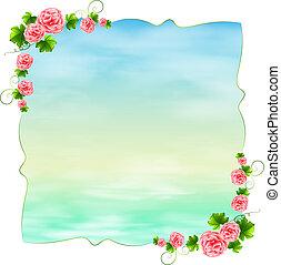 bleu, rose, gabarit, oeillet, fleurs, vide