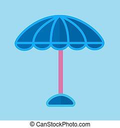 bleu, rose, parapluie, soleil, isolé, illustration, crosse