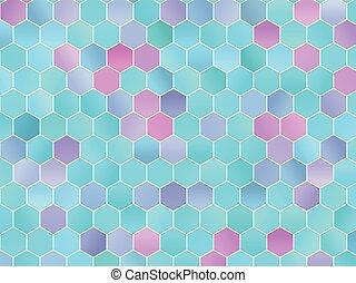 bleu, rose, résumé, illustration, hexagones, hexagons., vecteur, vert, colors., fond, gradients, géométrique