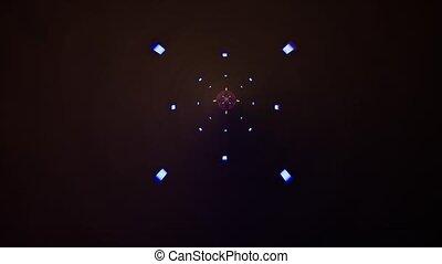 bleu, rose, style, carrée, arrière-plan., pourpre, lumière, résumé, laser., néon, mouvement, tunnel, forme, conception, fond, animation., 3d