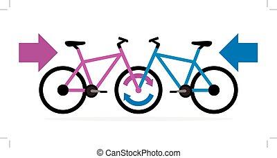 bleu, rose, vélo, revêtement, autre, chaque