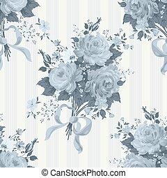 bleu, rose, vendange, arrière-plan., modèle, floral