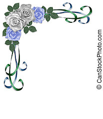 bleu, roses, blanc, coin