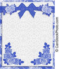 bleu, roses, invitation mariage