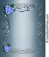 bleu, roses, mariage