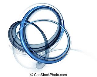 bleu, rotation, dynamique, mouvements