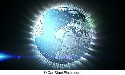 bleu, rotation, graphique, la terre