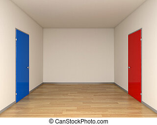 bleu, rouges, portes
