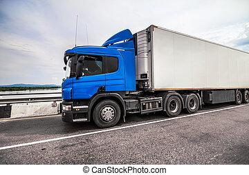 bleu, route, camion, caravane, réfrigérateur