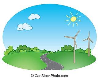 bleu, route, turbines, -, illustration, vecteur, vert, vent, paysage, ciel
