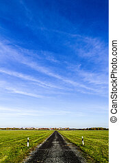 bleu, rue, ciel, horizon