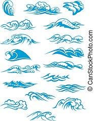 bleu, rupture, vagues océan