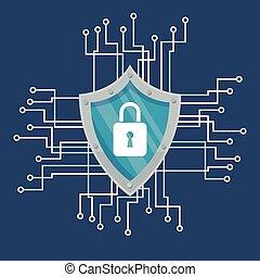 bleu, sécurité, conception, système, cyber