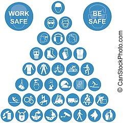 bleu, sécurité, pyramide, santé, icône