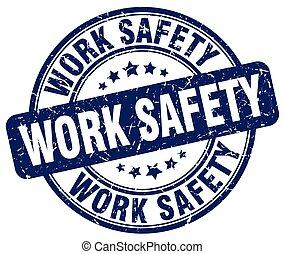 bleu, sécurité, travail, grunge, timbre